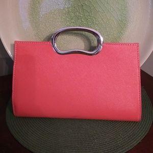 Vintage pink & Silver clutch